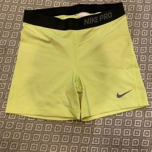 Women's Nike pro yellow dry fit spandex
